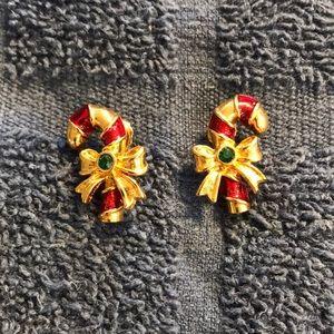 Avon Candy Cane Goldtone Enamel Emerald Earring